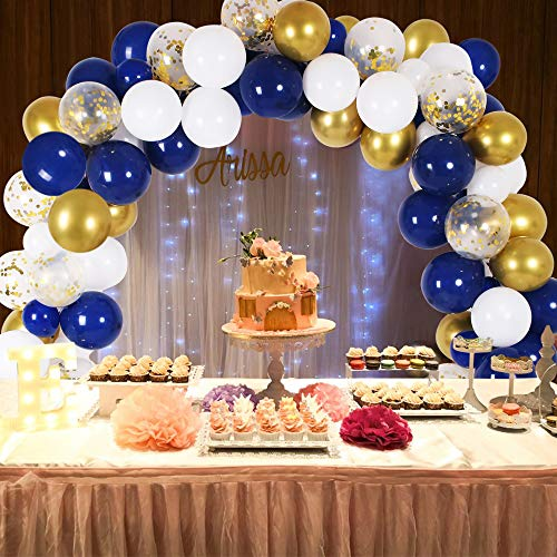 DIY Blue Balloon Garland & Arch Kit, 138pcs Party Decorations Balloon Set, Navy Blue & Golden & Sequin Gold & White Balloons for Baby Shower, Wedding, Birthday, Graduation, Anniversary Organic Party