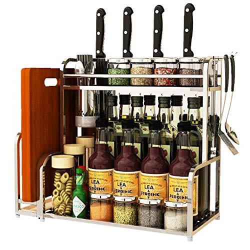 Estante de especias de cocina, estante de acero inoxidable 304, tablero de tablero de corte, utensilios de cocina, bastidor de almacenamiento de cocina con palillos, tablero de paja y bastidor de cuch