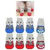 8 piezas de calcetines antideslizantes para perros, patrón de oso lindo, zapatos de protector de pata de control de tracción para interiores, para perros pequeños, cachorros, gatos (tamaño grande)