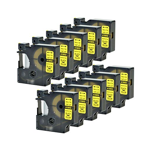 """GREENCYCLE Compatible for DYMO Industrial Heat Shrink Tubes 18052 use in LabelWriter and Industrial Label Makers Rhino 1000 3000 4200 5000 5200 6000 LabelManager 450 Duo Black on Yellow 1/4"""" 10 Pack"""