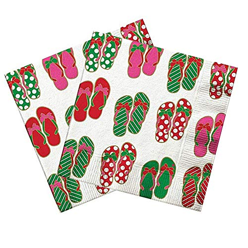 Disposable Summer Napkins With Red and Green Flip Flop Pattern, Holiday Christmas In July Party Supplies and Decorations, 20 Count, Pack of 2