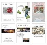 Set 6 exklusive Premium Trauerkarten/Beileidskarten mit Umschlag. Trauerkarte Beileidskarte (Doppelkarten/Klappkarten mit Briefumschlag (20000))