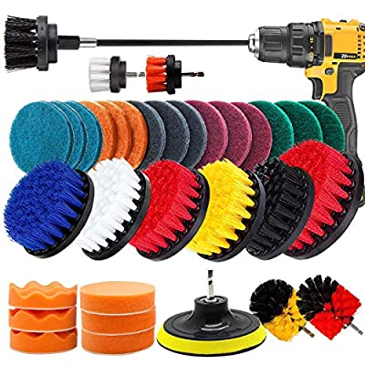 VONDERSO Drill Brush and Sponge Pads, 34 Pieces Variety Power Scrubber Cleaning Brush Kit with Long Reach Attachment for Bathroom Shower Scrubbing, Carpet Cleaning, Grout Scrubbing, and Tile Cleaning