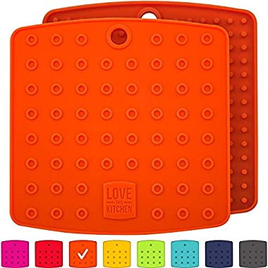 Premium Silicone Trivet Mats/Hot Pads, Pot Holders, Spoon Rest, Jar Opener & Coasters - Our 5 in 1 Kitchen Tool is Heat Resistant to 442 °F, Thick & Flexible (7  x 7 , Fall Orange, Set of 2)