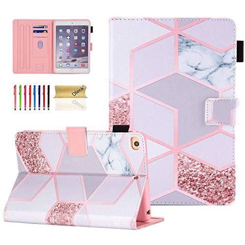 Dteck iPad Mini 1/2/3/4/5 Case, Slim Fit Premium PU Leather [Multi-Angle View] Folio Stand Wallet Cover with Auto Wake/Sleep Smart for Apple iPad Mini 1/Mini 2/Mini 3/Mini 4/Mini5,Grid Marble
