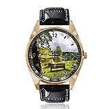 A Bench Overlooking at Countryside Cloudy, orologio da polso analogico al quarzo con quadrante dorato, cinturino in pelle, da uomo