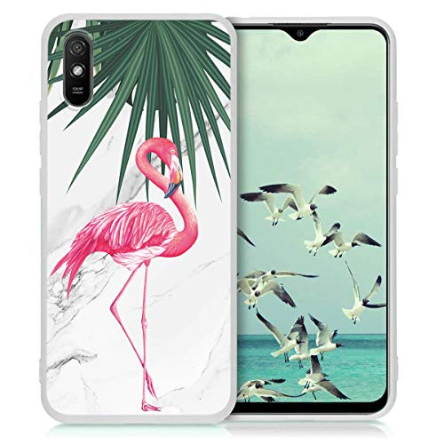 Yoedge Funda para Xiaomi Redmi 10 (4G) -6,5 Pulgada Carcasa Protectora Suave TPU Blanco Mate Silicona Antichoque Anti-Rasguño Ultrafino Bumper Cover con Patrón de Moda para Redmi10, Flamingo