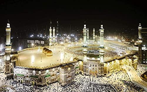 HJHJHJ Vista Nocturna de Enorme Mezquita-Rompecabezas para Adultos Rompecabezas de 1000 Piezas de Bricolaje para niños Juguetes de cartón 26x38cm
