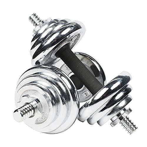 #DoYourFitness All-in-One Hantelset 20 KG | Für alle Muskelgruppen geeignet | Kurzhantelstange und Hantelscheiben | Chrom