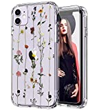 ICEDIO iPhone 11 Case with Screen Protector,Clear with Elegant Floral Flower Patterns for Girls Women,Shockproof Slim Fit TPU Cover Protective Phone Case for Apple iPhone 11 6.1 inch i phone protector case May, 2021