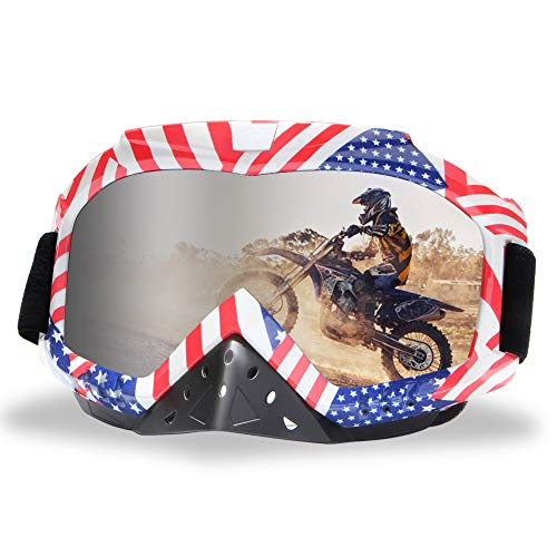 Motorcycle Goggles Motocross Riding Goggles Dirt Bike Goggles Racing Goggle Nose Guard Wrap Anti Fog UV Dustproof Windproof ATV Off Road Goggles Ski Goggles for Outdoor Sports Activities Silver Lens
