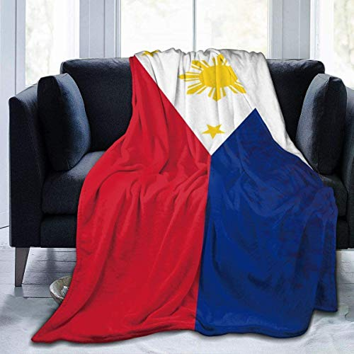 DUTRIX Flag of The Philippines Fleece Blanket Cozy Thermal Fleece Blanket No derramamiento Premium Franela Fleece Throw Manta de Lujo Gruesa Manta de sofá para Cama Sofá Manta de coche-50 × 40'