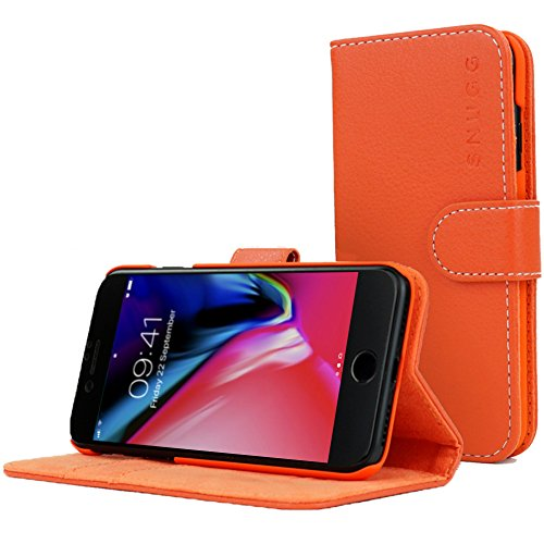 Snugg Cover iPhone 7 Plus and 8 Plus, Apple iPhone 7 Plus and 8 Plus Flip Custodia Case [Slot Per Schede] Pelle Portafoglio Progettazione Esecutiva [Garantita a Vita] - Arancia, Legacy Range