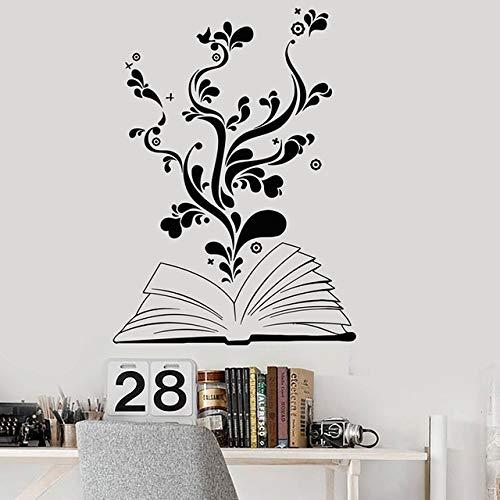 Pegatinas de pared para niñas adolescentes, para niños, habitación, libro, lectura, flor, él adolescente, tapiz para el hogar, decoración para niños, puerta romántica, vinilo, fondo extraíble, 57x78cm