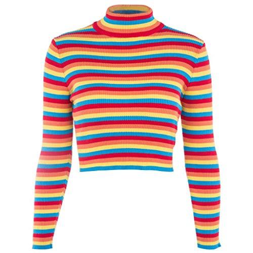 Aawsome Suéter de manga larga con cuello de tortuga y rayas arcoíris coloridas, corto, para mujer, de otoño, acanalado, básico A