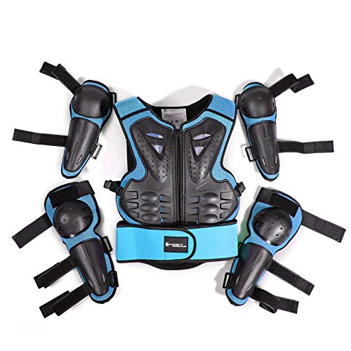 WOSAWE Kinder-Schutzkleidung mit Knieschoner Ellenbogenschoner Schutz Weste Motorrad Ganzkörperschutz Rüstung für Ski Snowboard Motocross Sport (Style2 Blau)