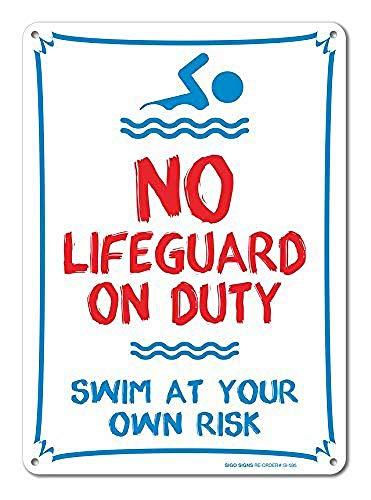 Ellis Pool – No Lifeguard On Duty Swim at Your Own Risk 14 Straßenschild Retro Blech für Geschäft Mann Höhle Bar Home Dekoration Garage