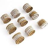 Cinta de yute con encaje, 9 Rollos Cinta de arpillera, cinta artesanal de yute de arpillera de lona vintage de 2m x 5cm con puntas blancas para embalaje de manualidades,decoración de regalos