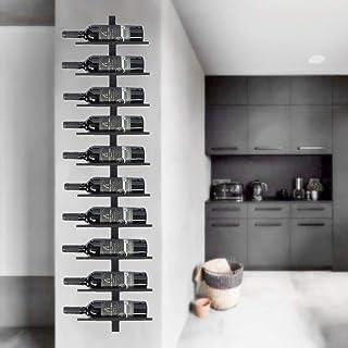 Catalpa Blume Wijnrek flessenrek flessenhouder opbergrek van metaal zwart wandmontage voor 10 flessen wandrek hangrek