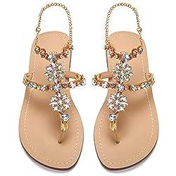 Apricot PU Rhinestones Chains Flat Gladiator Sandal