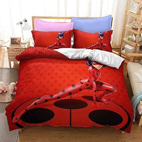 SK-LBB Juego de funda de edredón de microfibra con diseño de mariquita, con cremallera oculta, adecuado para cama individual y doble (7,150 x 200 cm + 2 x 50 x 75 cm)