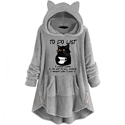 Sudaderas con capucha para mujer, diseño kawaii con caricatura de peluche, abrigo de otoño e invierno, sudadera con capucha, abrigo de invierno con estampado de gato, gris, L,