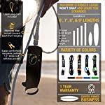 """Ho Stevie! Premium Surf Leash [1 Year Warranty] Maximum Strength, Lightweight, Kink-Free, for All Types of Surfboards… 8 💪 MAXIMUM STRENGTH surfboard leash won't snap and leave you stranded! Designed and tested in California... we surf every day, and we designed our leashes to withstand rigorous use. 100% Money-Back Guarantee, and 1 Year Warranty. 🏄♂️ Available in 6 feet, 7 feet, 8 feet, or 9 feet sizes. We recommend choosing a leash length similar to the length of your surfboard. PERFECT FOR ANY SIZE BOARD - shortboards, longboards, funboards, fishes, or SUPs. 🔑 SUPER COMFORTABLE High Density Neoprene padded 1.5"""" ankle cuff won't slide around on your ankle. Store your key in the SECURE KEY POCKET in the cuff."""