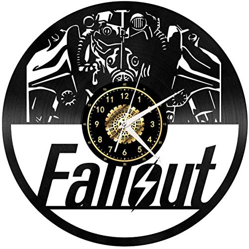 HYY-YY 3D Fallout Vinyl-Schallplatte kreative Uhr Retro LED Licht Vinyl Wanduhr Wohnzimmer Gedenkdekoration Geschenk ohne LED Lichter 30,5 cm mit LED Licht