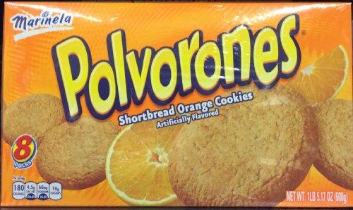 Marinella, Polvorones, Orange Shortbread Cookies, 8 Count, 21.17oz Box (Pack of 2)