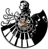 Jiedoud Reloj De Pared De Vinilo con Retroiluminación Led Músico Reloj De Pared con Disco De Vinilo Decoración del Hogar Ventilador Regalo Hecho A ManoSin Led