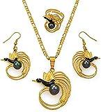 Mxdztu Co.,ltd Collar De Pájaro Verde, Pendientes, Conjuntos De Anillos para Mujer, Color Dorado, Joyería De Boda De Papua Guinea, Cadena De 60 Cm X 3 Mm