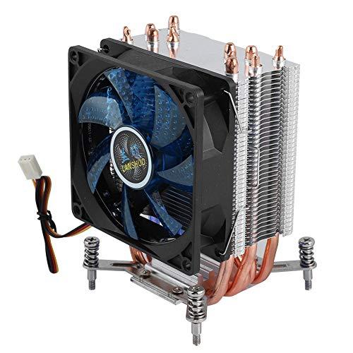 6 Heatpipe CPU Cooler, 2200RPM Disipación de Calor rápida PC Radiat Fan, 22dBA Presión hidráulica Super Silent CPU Heatsink(luz Azul #9)