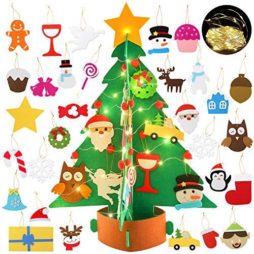 Joyibay DIY Filz Weihnachtsbaum, Filz Weihnachtsbaum Kinder mit 29 Pcs Ornamenten Dekoration Weihnachten Geschenk Filz Weihnachtsbaum Set Für Home Tür Wand Dekoration