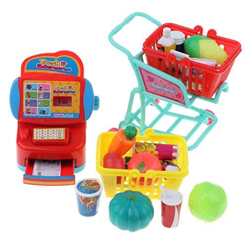 FLAMEER Supermarkt Spielzeug Set für Kinder Lebensfähigkeit zum Lernen ( Kinderkasse + Einkaufswagen + Lebensmittel )