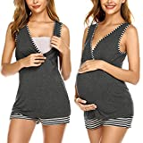 Ekouaer Nursing Pajamas Short Set Pregnancy Pajamas for Women Breastfeeding Pjs Dark Grey M