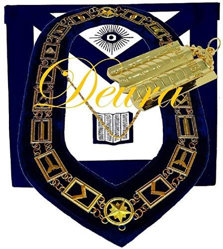 DEURA Masonic Master Mason CHAPLAIN HOLY BIBLE GOLD Jewel + Collar and Embroidered Apron Set