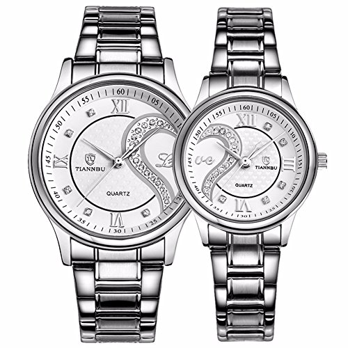 Valentines Stainless Steel Romantic His and Hers Pair Hearts Wrist Watches for Man Woman Fq102 Silvery White Set of 2