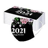 Hanomes 50 Stück Einweg_Mundschutz,Frohes neues Jahr 2021 Muster Erwachsene Atmungsaktiv Multifunktional Bandana Mund-Nasenschutz Staubdichte Halstuch