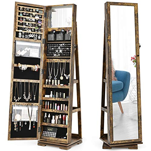 CHARMAID 360° Rotating Jewelry Armoire with Higher Full Length Mirror, Standing Lockable Jewelry Cabinet Organizer, Large Storage Capacity, Inside Makeup Mirror, Rear Storage Shelves (Rustic Brown)