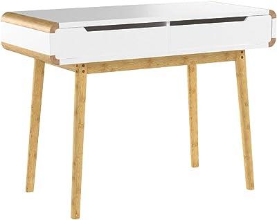 Relaxdays 10020982 Bureau avec tiroirs en bois table ordinateur coiffeuse table maquillage coins arrondis bureau enfant HxlxP: 73 x 100 x 45 cm, blanc