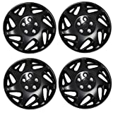 TuningPros WSC3-007BB15 4pcs Set Snap-On Type (Pop-On) 15-Inches Matte Black Hubcaps Wheel Cover