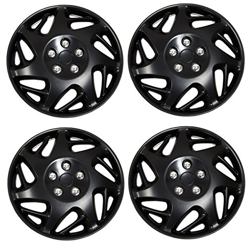 Tuningpros WC-15-2007J-B - Pack of 4 Hubcaps - 15-Inches Style Snap-On (Pop-On) Type Matte Black Wheel Covers Hub-caps