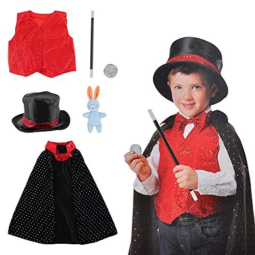 deAO Costume da Mago Gioco d'Imitazione per Bambini Il Set Include Uniforme Tradizionale, Accessori Magici e Coniglio Ripieno