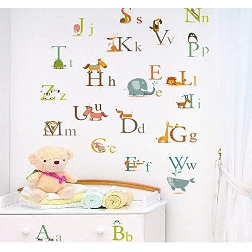 Cosanter Childrens Room Wall Stickers English Alphabet Stickers Apply To Children Early Education 45*60 CM
