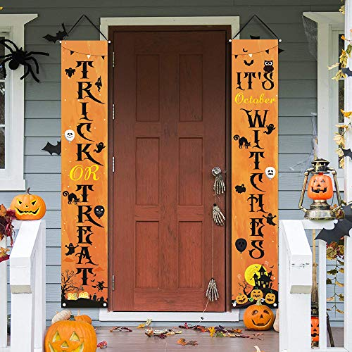 Halloween Decorations Porch Sign Banners – Trick or Treat & October Halloween Signs for Front Door, Halloween Hanging Signs for Indoor/ Outdoor Home Wall Door Holiday Party Welcome Decor 12 x 72 Inch
