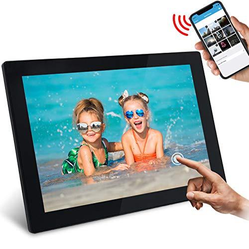 """WiFi Digitaler Bilderrahmen, SSA 10.1\"""" Touchscreen 1280 * 800 Integrierter 16 GB Speicher Hoch- und Querformat Sofortiges Teilen von Fotos und Videos"""