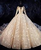 QING XIN-1225 Abiti da Sposa Lussuoso Paillettes Abito di Sfera Wedding Dress O Scollatura Abiti da Sposa Taglie Forti Sposa Prom Dress Abito da Sposa Abiti da Cerimonia (Color : Red, US Size : 28W)