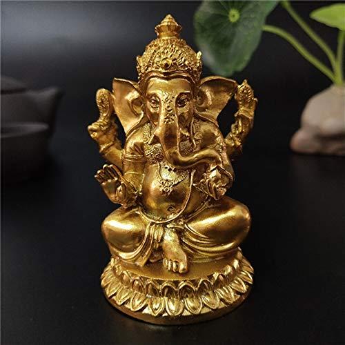 Gold Lord Ganesha Statues- Hindu Elephant God Statue Resin Sculpture Indian Ganesh Buddha Figurine Handmade Gift Decoration Ornaments for Home, Garden, Car