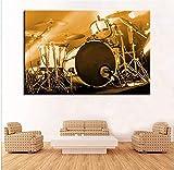 Instrumentos de tambor musicales Impresión en lienzo Pintura artística Kit de decoración del hogar moderno Póster Imagen de pared para decoración de dormitorio-40X60cm-16x24inch Sin marco