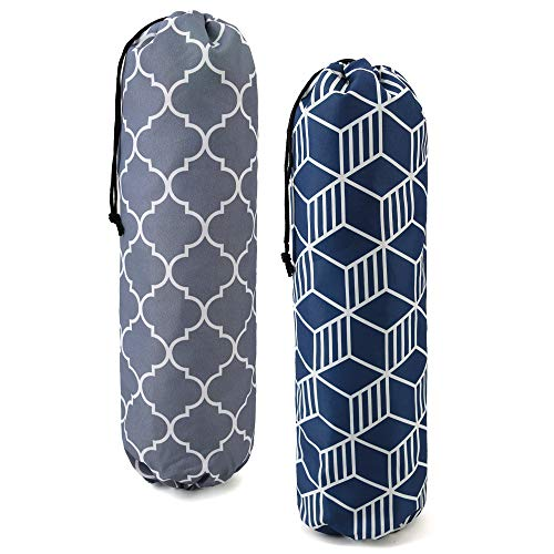 Cute Grocery Bags Dispenser for Plastic Garbage Sack Set of 2 Sturdy Shopping Bags Holder Container w Hanging Loop Large Eco Friendly Trash Bags Storage Organziers Geometric Printed Grey Navy Blue